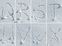 English alphabet in the snow - font set Stock Photography