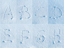English alphabet in the snow - font set Royalty Free Stock Images