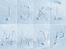 English alphabet in the snow - font set Stock Photos