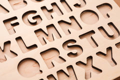English alphabet stencil closeup Royalty Free Stock Images