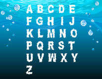 English alphabet in the underwater style. With bubbles Royalty Free Stock Photography