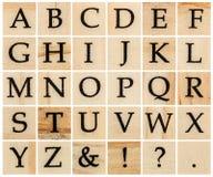 English alphabet uppercase, collage of isolated wood letterpress Royalty Free Stock Image