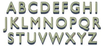 English alphabet. Uppercase. Golden 3D font. Isolated, easy to use. Stock Image