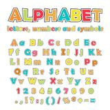 English alphabet, uppercase and lowercase letters. Cartoon colorful alphabet on white background, uppercase and lowercase letters, numbers and symbols Royalty Free Stock Image