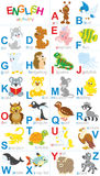 English alphabet. Vector alphabet with different funny animals in cartoon style Stock Illustration