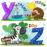 English alphabet Y Z. Colored cartoon English alphabet with Y and Z letters for children, with pictures of these letters with yacht, yak, zebra and zoo stock illustration