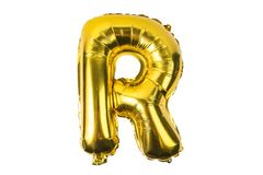English alphabet   from yellow Golden balloons on a white. Background Royalty Free Stock Photo