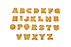 English alphabet A-Z made from bread, isolated on  Stock Photos