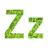 """English alphabet """"Z.z"""" made from green grass on white background for isolated Royalty Free Stock Photos"""