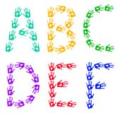 Colorful hands - isolated letters made of handprints. English alphabetic letters designed from colorful hand prints. Letters A-F Stock Photo