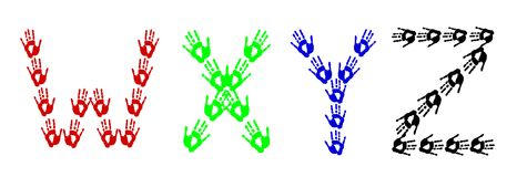 Colorful hands - isolated letters made of handprints stock illustration