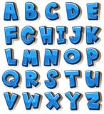 English alphabets in blue blocks Stock Image