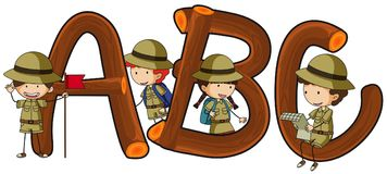 English alphabets and kids in safari outfit. Illustration Royalty Free Stock Photo