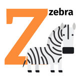 English animals zoo alphabet letter Z. English animals zoo alphabet with letter Z. Zebra vector illustration Stock Photography