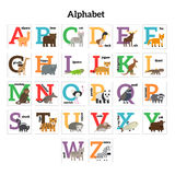 English animals zoo alphabet. Preschool kids education. Vector illustration Royalty Free Stock Photo