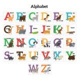 English animals zoo alphabet. Preschool kids education. Vector illustration vector illustration