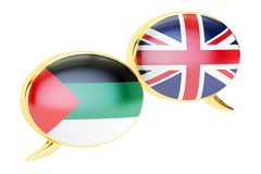 English-Arab translation concept, 3D rendering. English-Arab translation concept, 3D Royalty Free Stock Photos