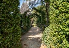 English arcade in the picturesque Jardins du Manoir d Eyrignac in Dordogne. France stock images