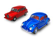 English Austin FX4 and VW Beetle. 3D render of Austin FX4 and VW Beetle on white background Royalty Free Stock Photos