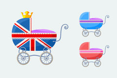 English Baby Carriages - small  set. Small  set with baby-carriages with special stroller for royal baby from England (on occasion of the birth of the royal heir Stock Photography