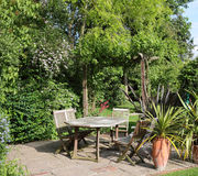Patio area of an  English back Garden Royalty Free Stock Photo