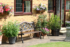 An English Back garden seating area Stock Image