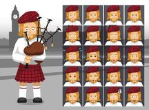 English Bagpipe Costume Cartoon Emotion faces Vector Illustration stock illustration