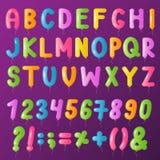 Balloons text alphabet vector symbols letters big set cartoon stock illustration