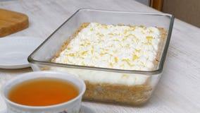 English banoffi dessert with bananas, caramel sauce and whipped cream Stock Photo