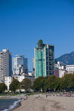 English Bay Beach and west end, Vancouver BC Stock Photography