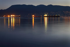 English Bay, Dawn Freighters, Vancouver Stock Photo