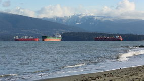 English Bay Freighters at Anchor, Vancouver stock video