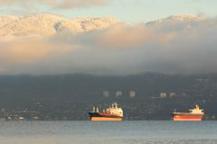 English Bay Freighters, Vancouver Royalty Free Stock Image