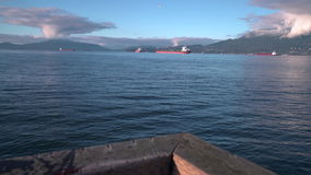 English Bay Freighters, Vancouver 4K. UHD stock footage