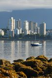 English Bay Low Tide, Vancouver, vertical Stock Image
