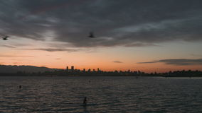 English Bay Slow Motion Sunrise, Vancouver stock footage