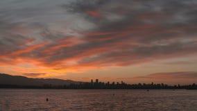 English Bay Sunrise Pan, Vancouver stock footage