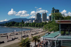 English Bay, Vancouver BC, Canada. English Bay, a public beach popular with people who live nearby in the West end of Vancouver royalty free stock photos
