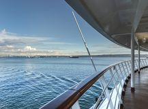 English Bay, Vancouver, British Columbia, Canada from cruise ship deck. stock photo