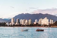 English Bay view from Kitsilano Beach in Vancouver, Canada Royalty Free Stock Photo