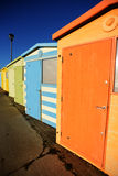 English Beach Huts. On the Sussex South Caost Of England Royalty Free Stock Photo