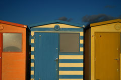 English Beach Huts. On the Sussex South Caost Of England Stock Images