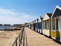 English Beach in Suffolk, Southwold. Old fashioned English seaside scene in Southwold, Suffolk Stock Photos