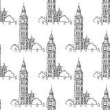 English Big Ben seamless pattern. English Big Ben tower seamless pattern for tourism and travel design Royalty Free Stock Photo