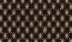 English black genuine leather upholstery, chesterfield style background Stock Images