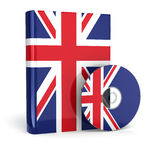 English book  in national flag cover and CD. 3d Stock Photography