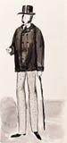 English bourgeois gentleman. Historical costume - English bourgeois gentleman in high top hat 1860e years Royalty Free Stock Photography