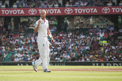 English bowler Stuart Broad walks on the pitch Stock Photos