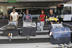 English boyband JLS is seen at LAX. LOS ANGELES-AUGUST 3: English boyband JLS is seen at LAX . August 3rd in Los Angeles, California 2010 Royalty Free Stock Photos