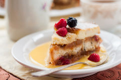 English Bread and Butter Pudding with Apples and Cranberries Stock Photo